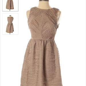 Anthropologie Esley Tan Pleated Mini Party Dress